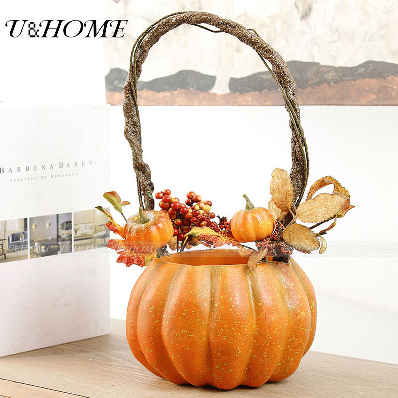 Artificial Hallowmas Pumpkin <font><b>flower</b></font> basket fake Christmas berries for home Hallowmas arrangement high quality flores vase bulk