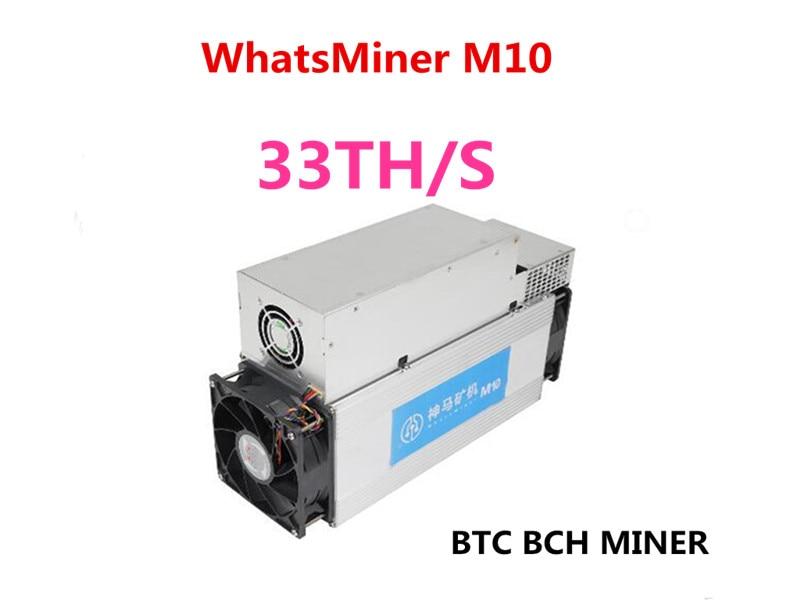 Asic Bitcoin BCH BTC minero WhatsMiner M10 33TH/S 65 W/T mejor que Antminer S9 S9i S9j T9 + M3 de bajo consumo de energía BTC minero amor Core Aixin A1 25T con PSU económico que Antminer S9 S15 S17 T9 + T17 WhatsMiner M3X M21S Innosilicon T2T Ebit