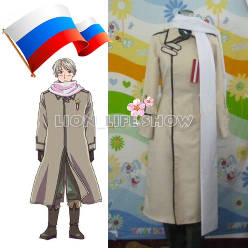 Axis Powers Hetalia APH Russia Ivan uniform Cosplay Costume unisex free shipping Halloween Outfit Full Set