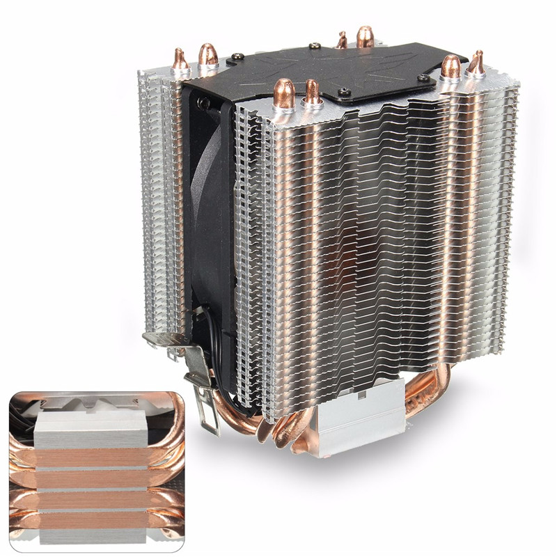 4 Heatpipe Radiator Quiet 3pin CPU Cooler Heatsink for Intel LGA1150 1151 1155 775 1156 AMD Fan Cooling for Desktops Computer amzdeal cpu cooler silent fan cooling dual fan cooler 2 heatpipe radiator heatsink radiator for intel amd computer