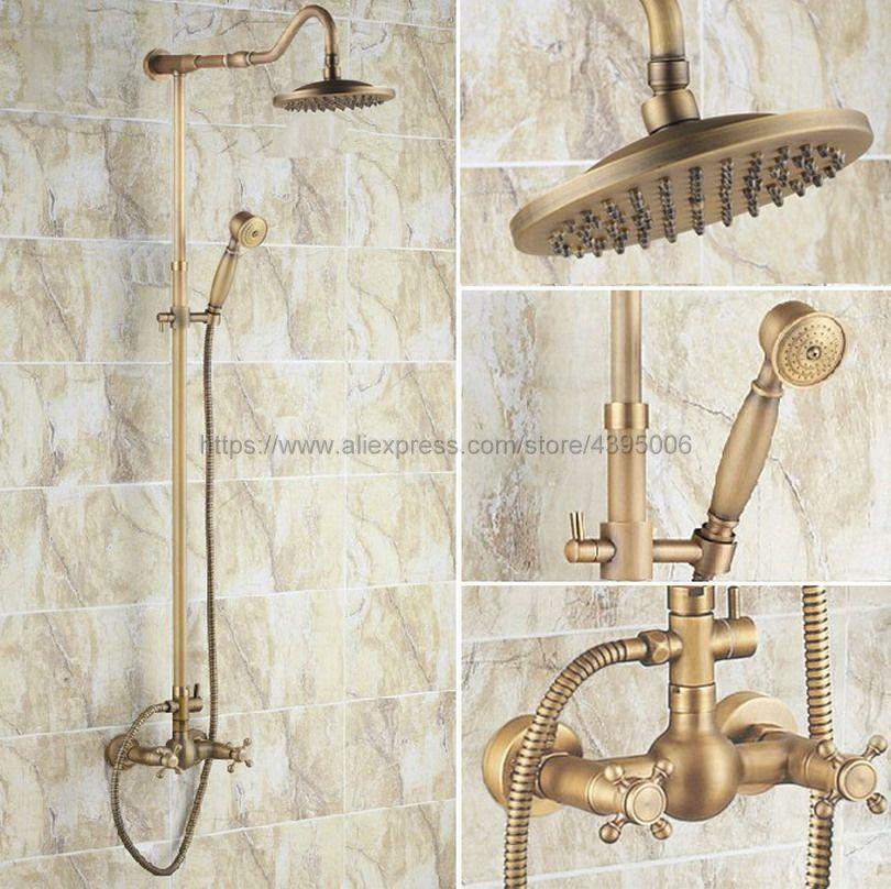 Antique Brass Bathroom Shower Faucet Set Double Handle 8 Rainfall Shower System with Handshower Brs139Antique Brass Bathroom Shower Faucet Set Double Handle 8 Rainfall Shower System with Handshower Brs139