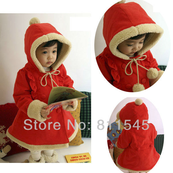 Size 6T Red Overcoat Warm Kids Winter Coat Toddler Girl the Jacket Hoodies Christmas New Year Costume Baby Wear Bebe Clothing