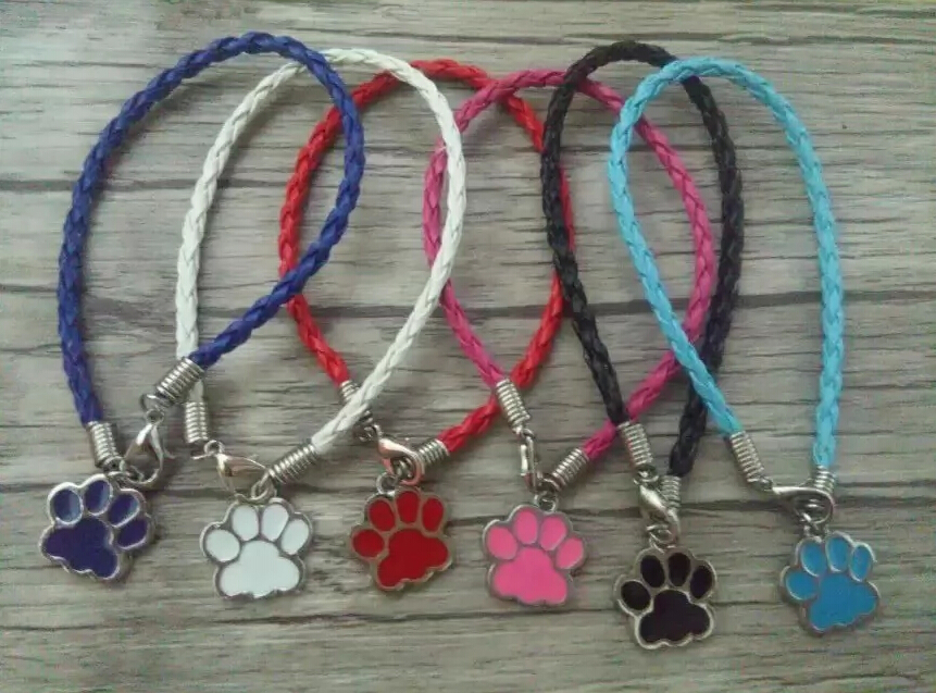 Fashion Ancient silver Enamel Cat \Dog Paw Charm Braided Leather Bracelets&anklets For woman jewelry accessories 50pcs A59