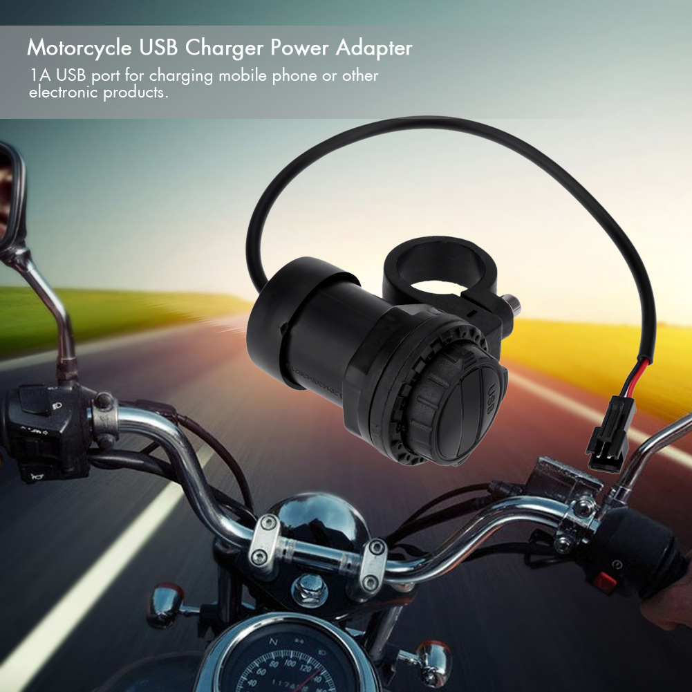 Motorcycle USB Charger Power Adapter Waterproof 1A with Mounting Bracket for Motorcycle