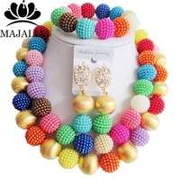 Fashion nigerian wedding african beads jewelry Set Multicolors plastic beads necklace bracelet earrings jewelry set VV 083