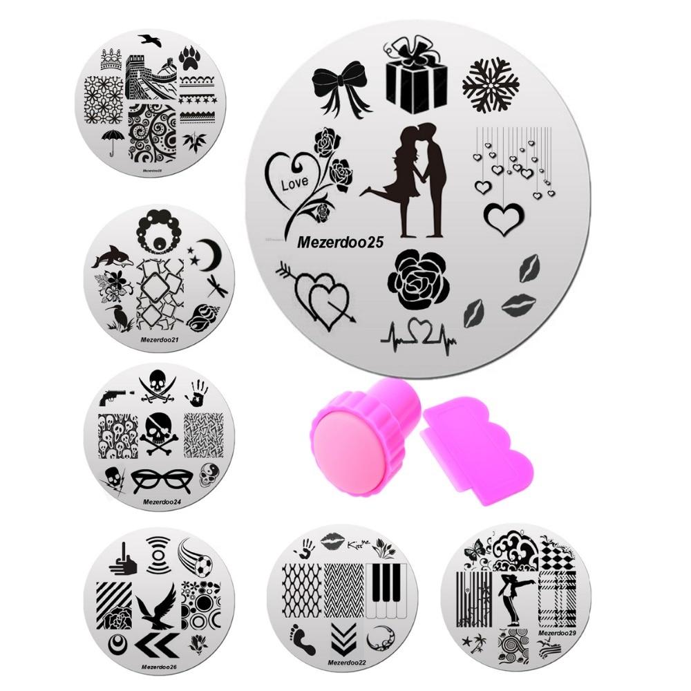10Pcs Nails Art Képlemezek Körömlakk-készlet és 1db Stamper Scraper Manikűr Templates Nails Stencils Tool