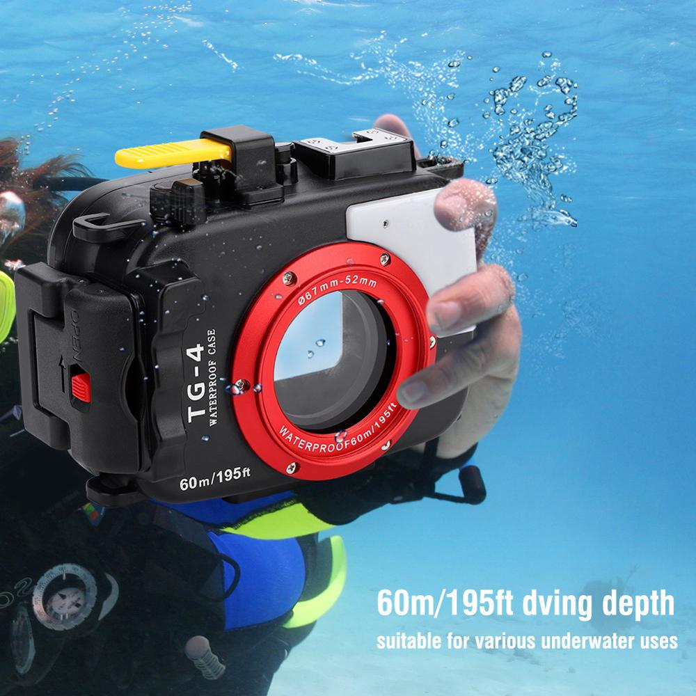 60m 195ft Underwater Waterproof Camera Housing Diving Cover Protective Case for Olympus TG4 TG5