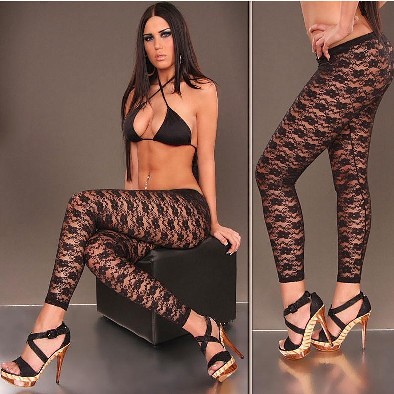 Hot Sale Women Sexy pants Lace printed flora transparent Sexy   Leggings   Hollow out Mesh Temptation Ankle length   leggings
