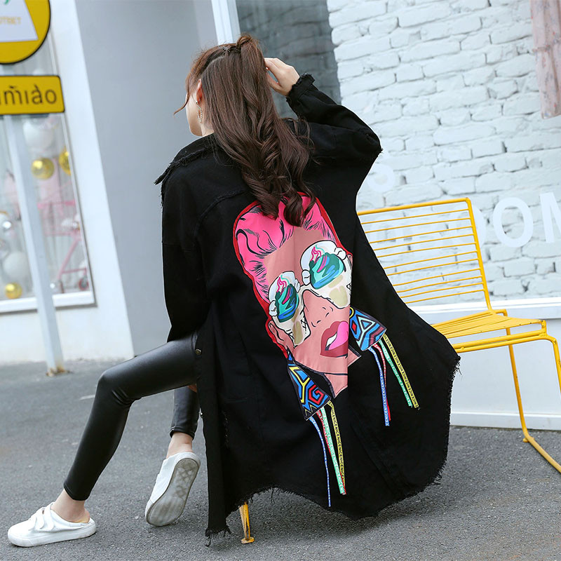 Women's Tops 2018 New Boyfriend Style Character Printed Tassel Loose Black Vintage Hole Burr Denim Jacket Women Long Sleeve Coat