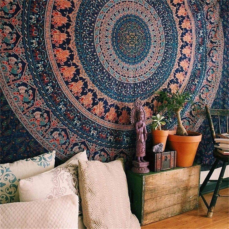 Image 2 - 148X200CM Hippie Mandala Tapestry Wall Hanging Indian Bohemian Psychedelic Tapestry Wall Fabric Boho Decor Wall Carpet Mattress-in Tapestry from Home & Garden