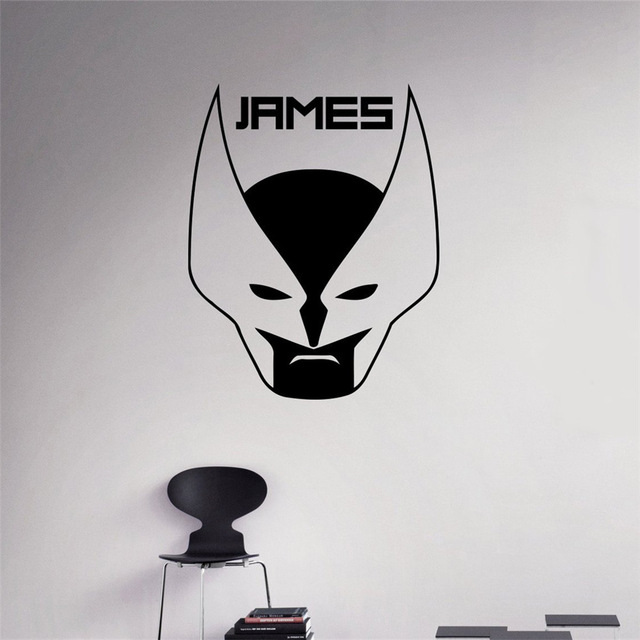 Personalized Any Name Wall Decal Wolverine Comics Logo Vinyl Sticker Custom Decals Home Decor Removable Decor image