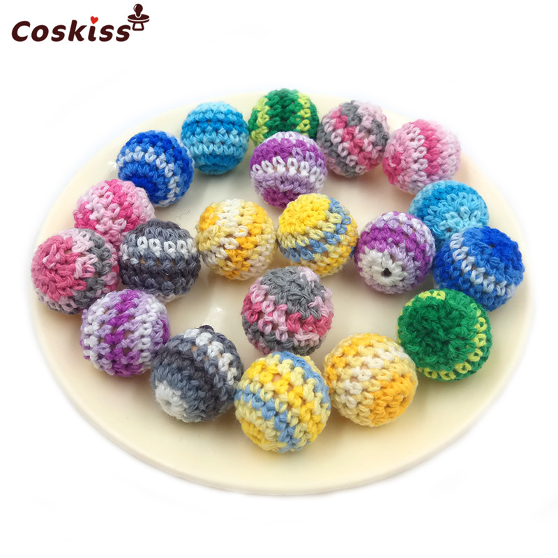 16mm/10pc Round Wooden Crocheted Bead Rainbow Color Woolen Teether Bead Necklace Decoration Wooden Teething Crochet Teether Ball