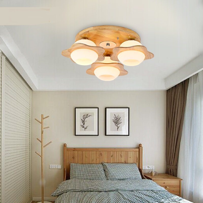 Scandinavian modern minimalist Ceiling Light flower oak living room restaurant solid wood ceiling lamps personalized creative