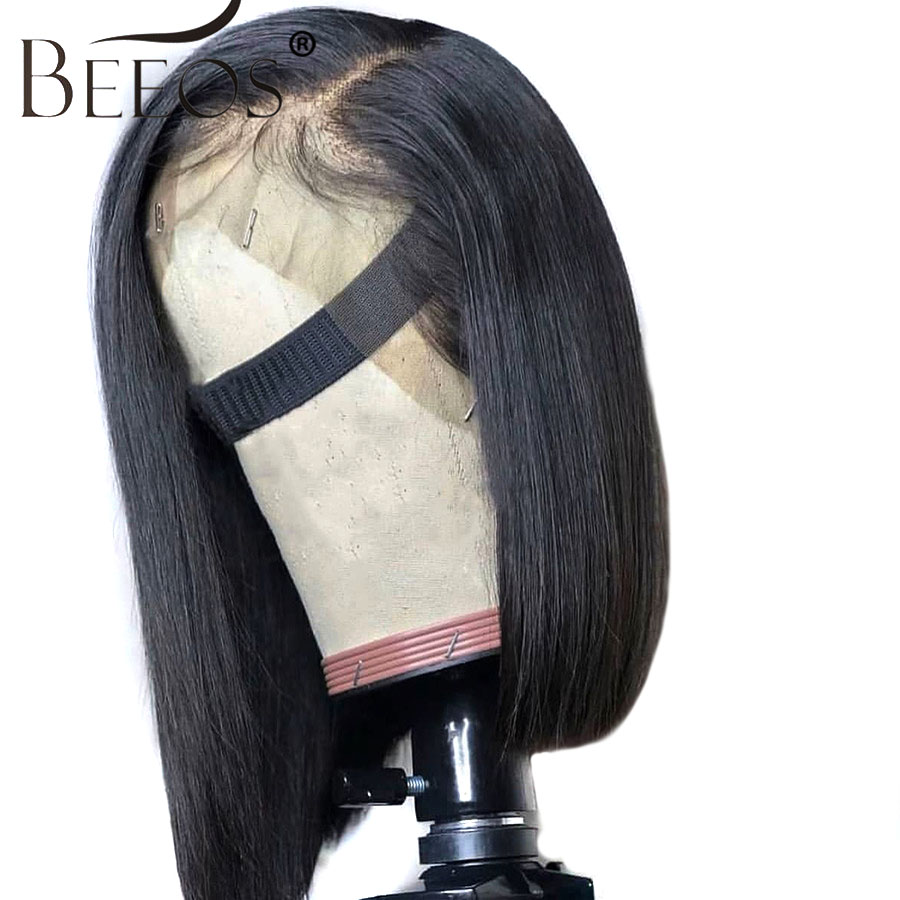 13 6 Deep Part Lace Front Human Hair Wigs Natural Color Peruvian Hair Side Part Bob