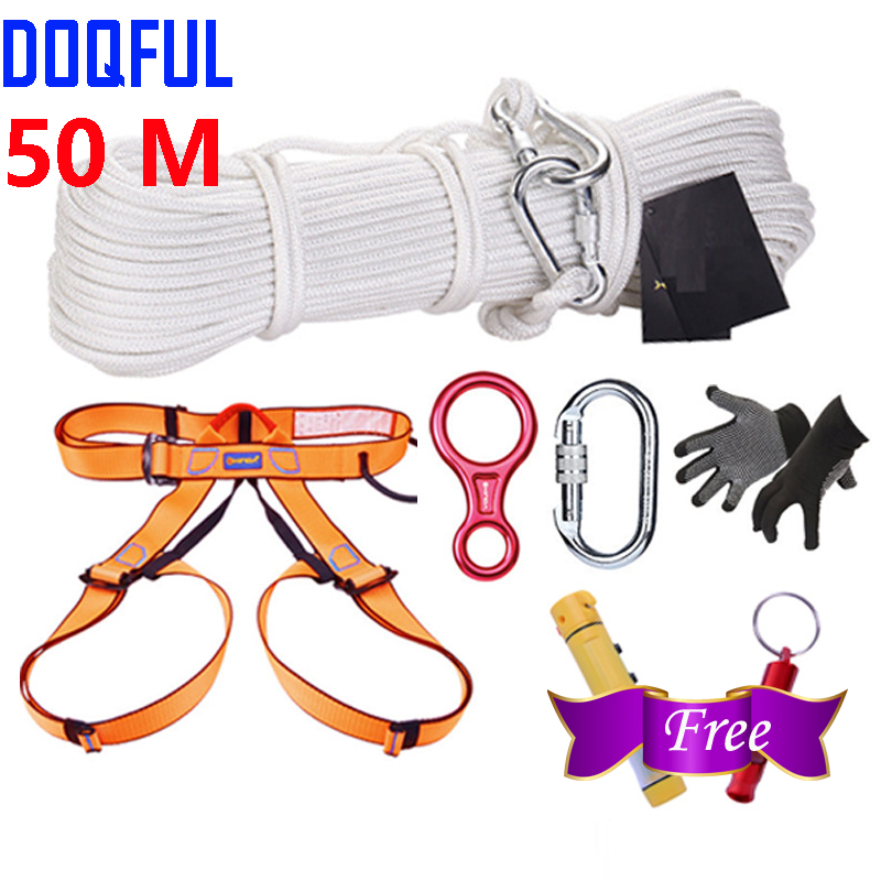 Home Escape System 50M Outdoor Climbing Rescue Rope Safety Belt Gloves Main Lock Descender Free Hammer Whistle Antigas Mask