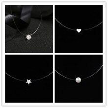 Necklaces Pendants Rhinestone Choker Invisible-Chain Gift Fishing-Line Transparent Women