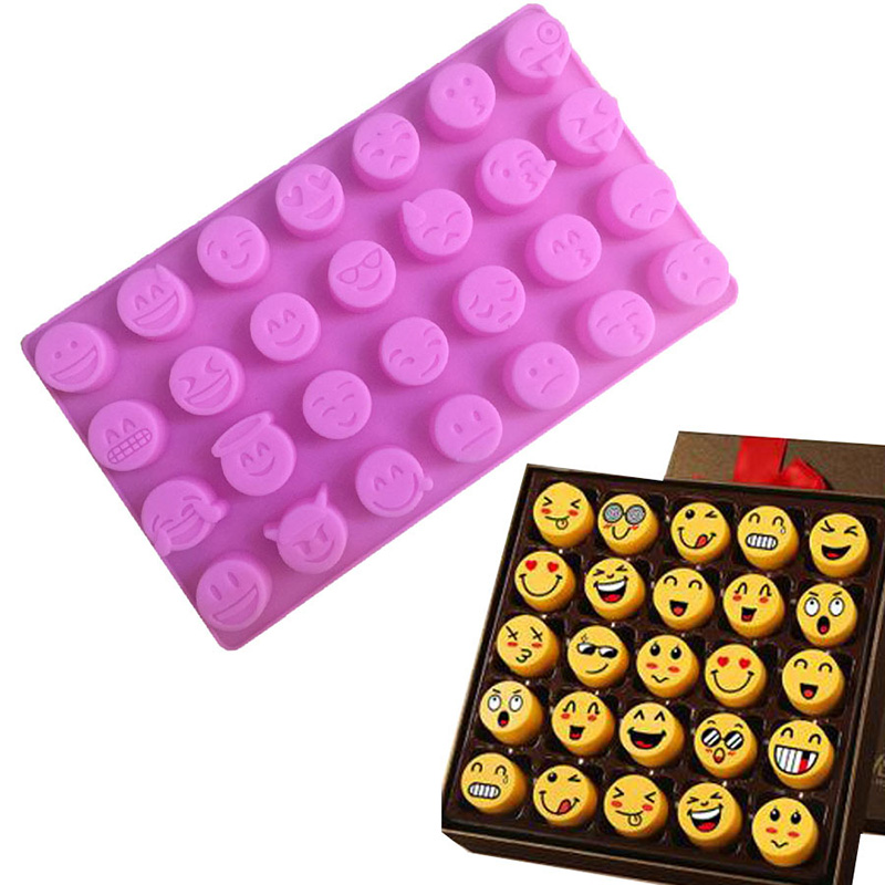 QuickDone Emoji Expression Funny Face DIY Cake Chocolate Cookies Ice Cube Soap Tray Baking Silicone Expression Mold CT1087