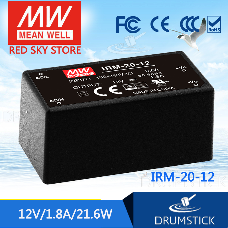 Redsky free-delivery 10Pcs MEAN WELL original IRM-20-12 12V 1.8A meanwell IRM-20 21.6W Single Output Encapsulated Type  genuine mean well irm 60 12st 12v 5a meanwell irm 60 12v 60w screw terminal style