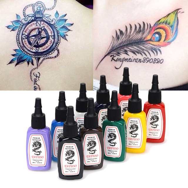10 garrafas/set Venda Quente Do Tatuagem Pigmento da Tinta 15 ml 1/2 OZ Cor agulha Garrafa de Tintas de Tatuagem Body Art 10 Cores o Transporte Da Gota grátis