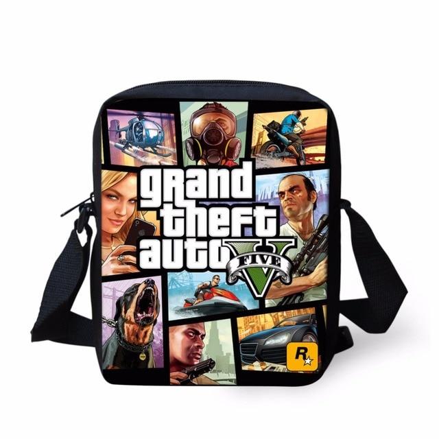 0d7df6ab07c6 Coloranimal Men Fashion Tote Shoulder Bag Famous Hot Game Grand Theft Auto  V Print Teen Boy Small Fashion Messenger Beach Bag