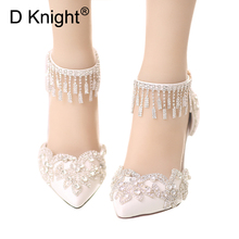 Summer White Pumps Shoes Woman Crystal Wedding Shoes Stiletto Leather High Heels Ladies Bridal Shoes Straps Women's Prom Shoes aidocrystal sparkling white ab color crystal bridal wedding shoes ivory evening shoes festival party prom high heels