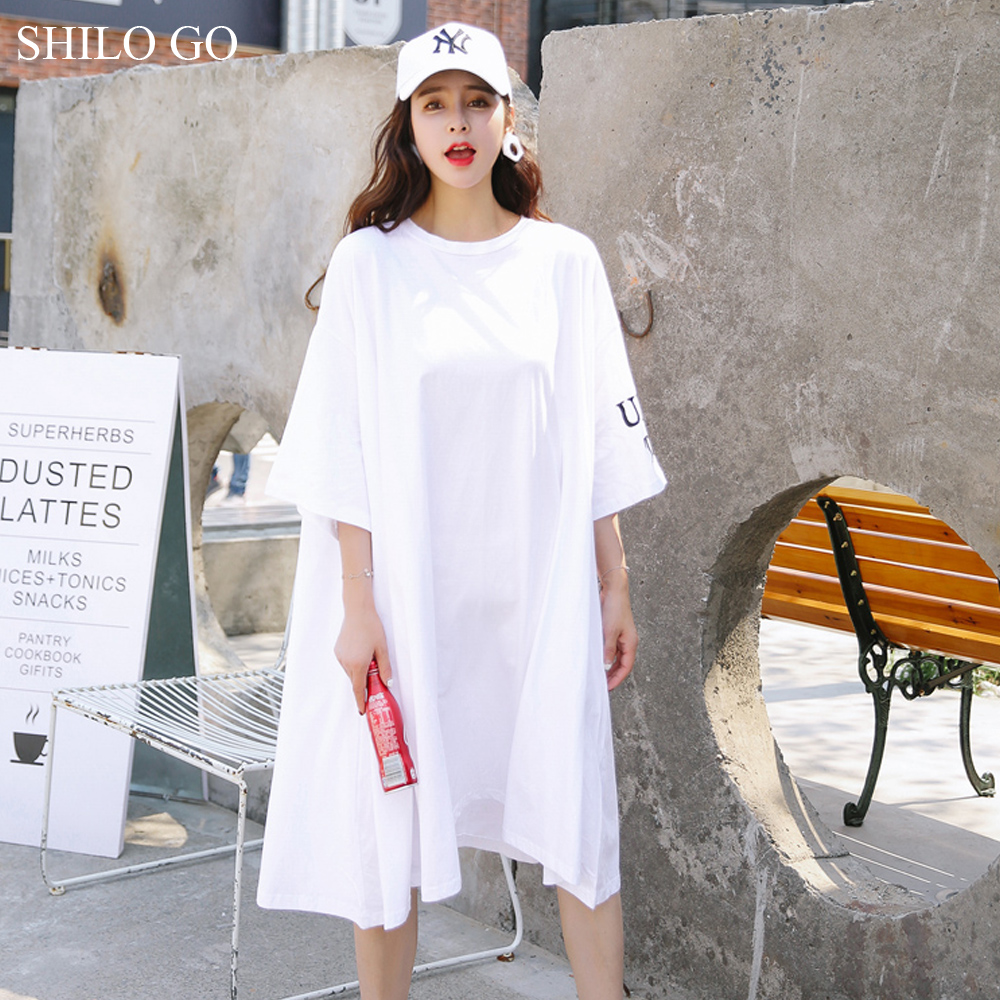 SHILO GO Women Dress 2018 Summer White Letter Printed T-shirt Dresses Asymmertriacl Women Half Sleeve Casual Loose Brief Dress
