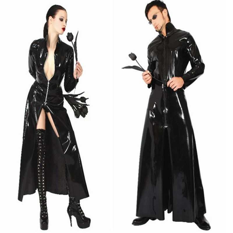 Free Shipping Black Faux Leather Clubwear Stripper Stage Wear New Romper cloak Catsuit Shiny jumpsuit Long Sleeve Zip Overcoat
