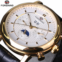 Forsining 2017 New Luxury Golden Series Moon Phase Calendar Design Clock Men Watch Top Brand Luxury