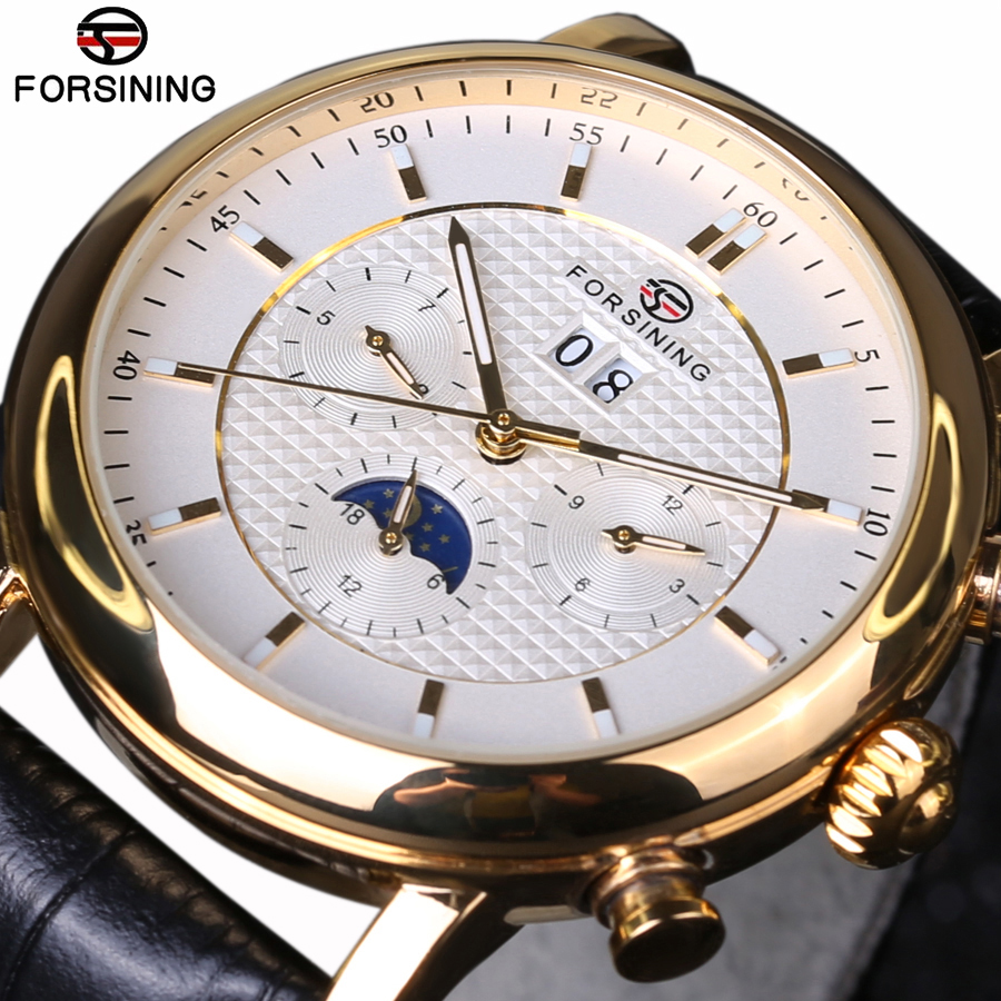 Forsining 2017 New Luxury Golden Series Moon Phase Calendar Design Clock Men Watch Top Brand Luxury Automatic Male Wrist Watch стоимость