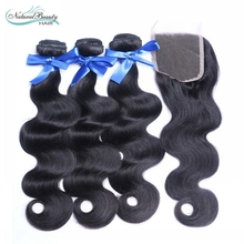Peruvian Virgin Hair 3 Bundles With Closure 4″x4″ Body Wave Human Hair Weaves 100% Unprocessed Hair Weft With Closure In Stocks