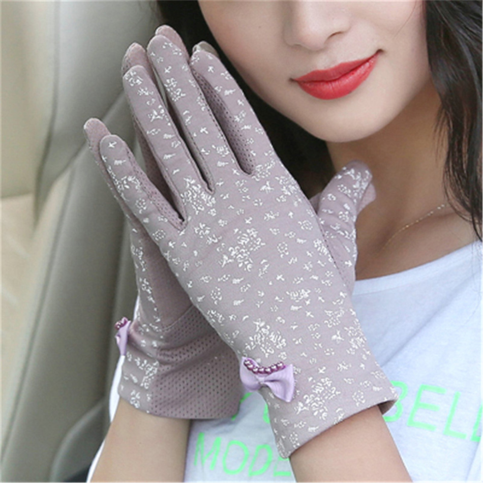 Ms Summer Driving Sunscreen Gloves Thin Section Short Spring Elasticity Cotton Shade UV Protection 3-TBFS1