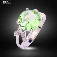 JROSE Fashion Style Twinkling Green Amethyst  & White Topaz Silver Ring Size 6 7 8 9 10 11 12 13 Free Shipping Wedding Jewelry