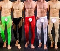 Di alta Qualità degli uomini Sexy Della Maglia Sheer Pantaloni Salotto Pantaloni Lunghi Sexy Maglia Trasparente Calzamaglia Ghette per Freddo Maschile Gay biancheria intima