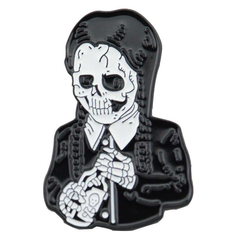 New Fashion Adams Family Brooches Gothic Skeleton Badge Figure Metal Pin Jewelry Birthday Gifts For Women