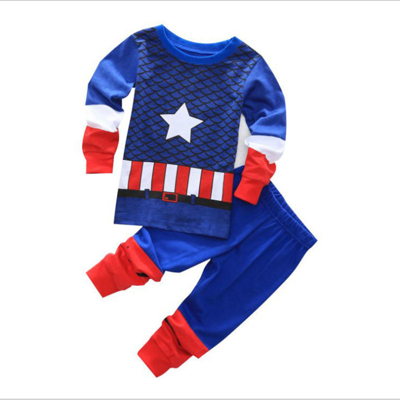 2016 new boys and girls children's suits superhero Captain America, Iron Man long sleeve 100% cotton pajamas cartoon image