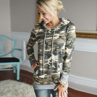 Fashion Camo Print Autumn Winter Jumper Pocket Women Long Sleeve Top Hoodies Sweatshirts Hooded Outerwear Coat
