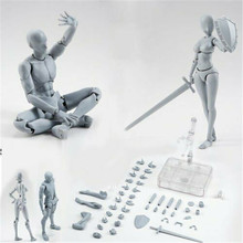 2.0 Male/Female Body Kun Doll PVC Body-Chan DX Action Play Art Figure Model Drawing for SHF Figurines Miniatures Gray Set Toy