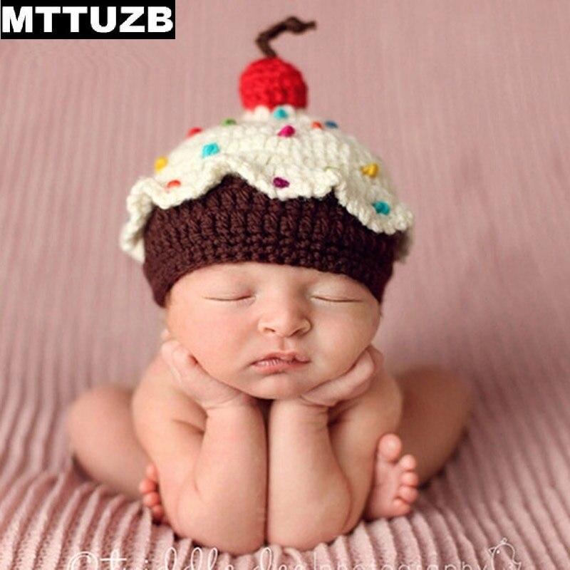 Recién Nacido mttuzb moda ganchillo sombrero traje muchachas de los bebés  lindos fotografía infantil invierno cálido kintted sombreros para 0- 4 meses a395e83052e