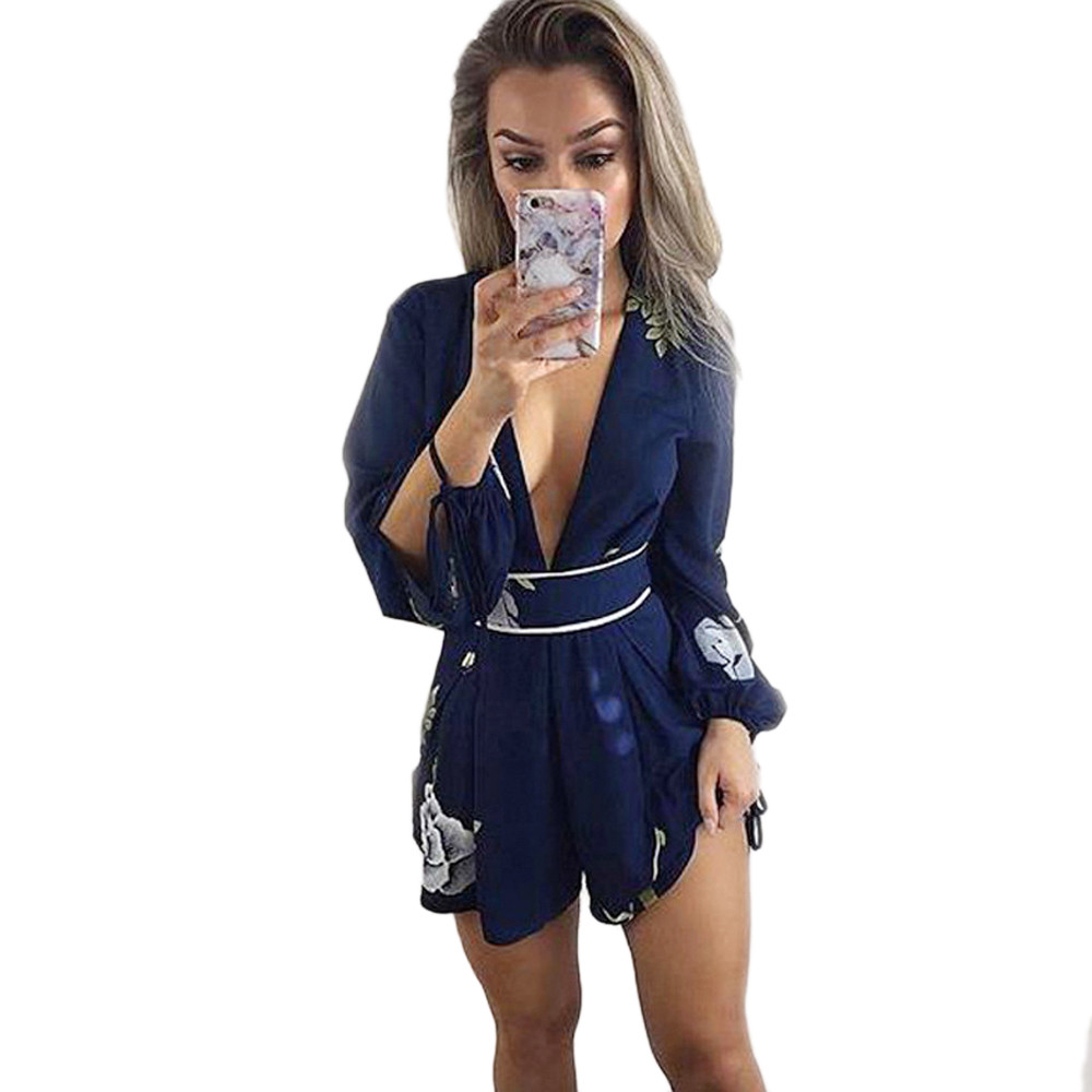 Jaycosin jumpsuit new ladies printing lace v-neck halter jumpsuit ladies halter summer strapless ladies sexy strap