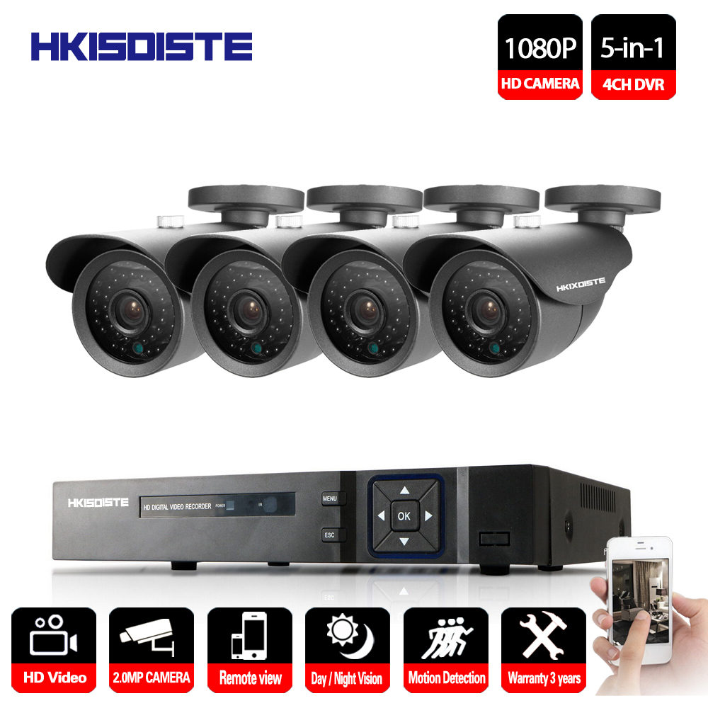 все цены на 4*1080P HD 2.0MP Outdoor Security Camera System 1080P HDMI CCTV Video Surveillance 4CH DVR Kit AHD Camera Set 4 CH 1080P AHD DVR