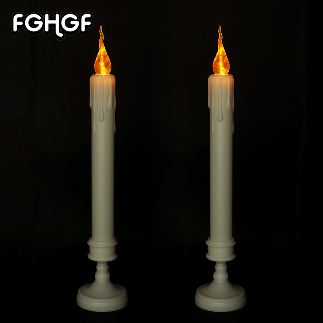 2 Pcs Hot Battery Operated Flameless Plastic Led Taper Candles For Church Pray Home Decoration