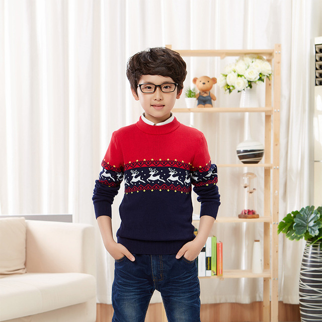 Cartoon Baby Sweater Autumn Winter Children's Clothing Sweater Child Long-sleeve Sweater Boys Sweater Thickening Basic O-neck
