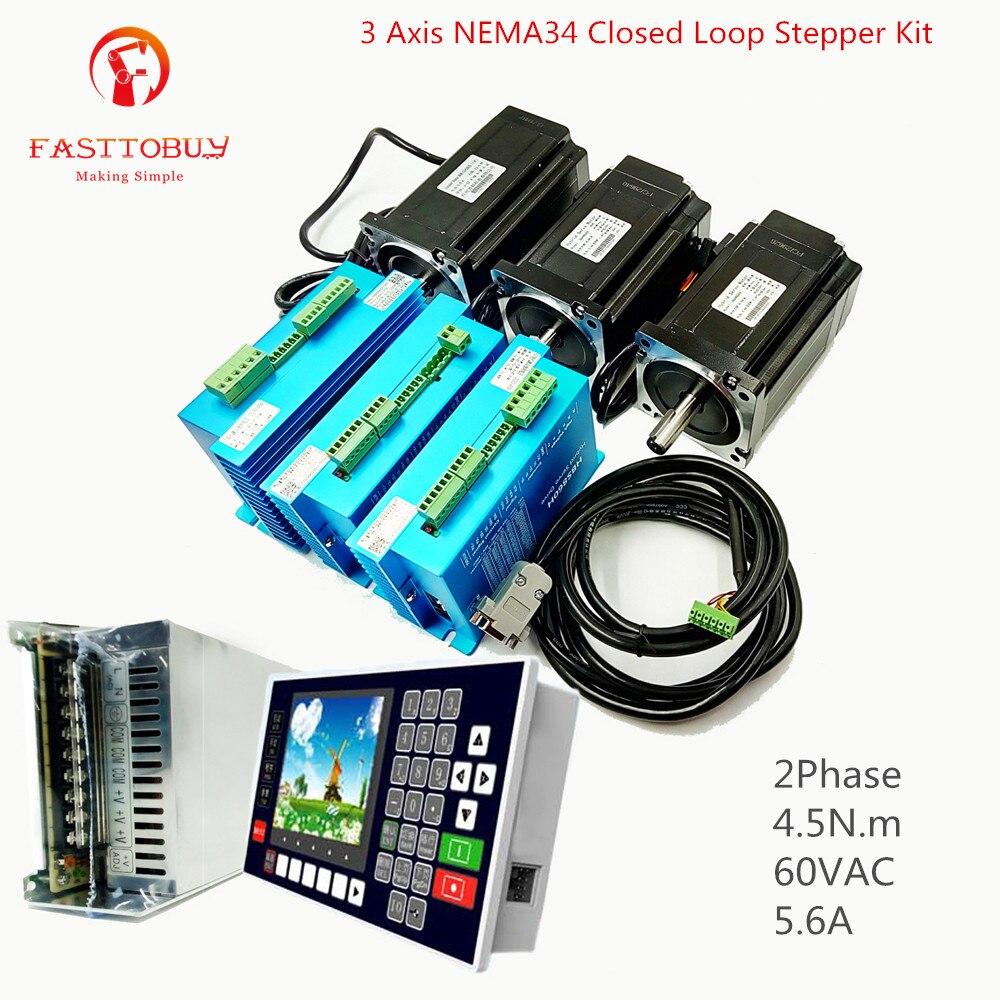 3 оси NEMA34 2 Фаза 4.5N.m 60VAC 5.6A шаговый двигатель с замкнутой обратной связью комплект Драйвер + двигатель + Управление; + Питание для станка с ЧПУ д