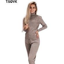 TAOVK kadın örme takım elbise yüksek yaka iki parçalı set üst ve pantolon kadın jimnastik örgü kostüm kadın iki parçalı kıyafetler