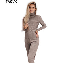 TAOVK נשי סרוג חליפות גבוהה צווארון שתי חתיכה סט למעלה ומכנסיים womans התעמלות סריגה תלבושות אישה שתי חתיכה תלבושות