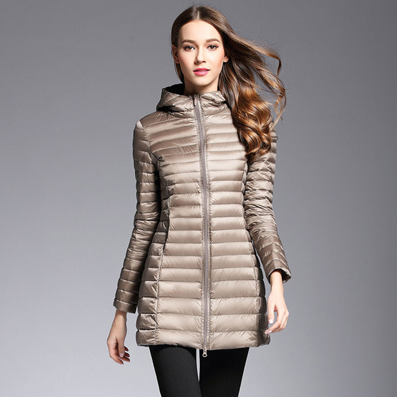 AKITSUMA Long Down Jacket Women Winter Down Coats Ultra Light Down Jacket Quilted Hooded Coat
