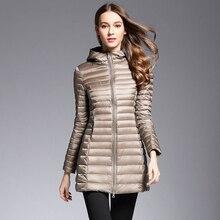 AKITSUMA Panjang Bawah Jaket Wanita Musim Dingin Turun Mantel Cahaya Ultra Jaket Berlapis Berkerudung Mantel