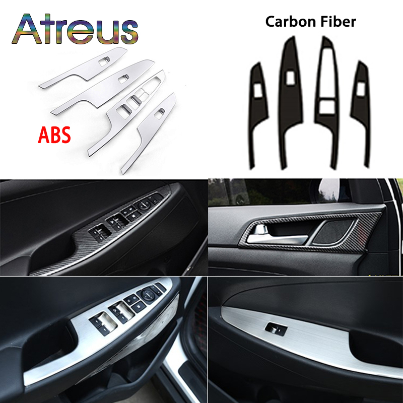 Carbon/ABS/Steel Interior Stickers For 2015 2016 2017 <font><b>2018</b></font> <font><b>Hyundai</b></font> <font><b>Tucson</b></font> Accessories Door Bowl Windows Lift Switch Panel Frame image