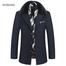 2017 New arrival style men boutique woolen overcoat business casual detachable hair collar men's solid slim jacket size M-3XL