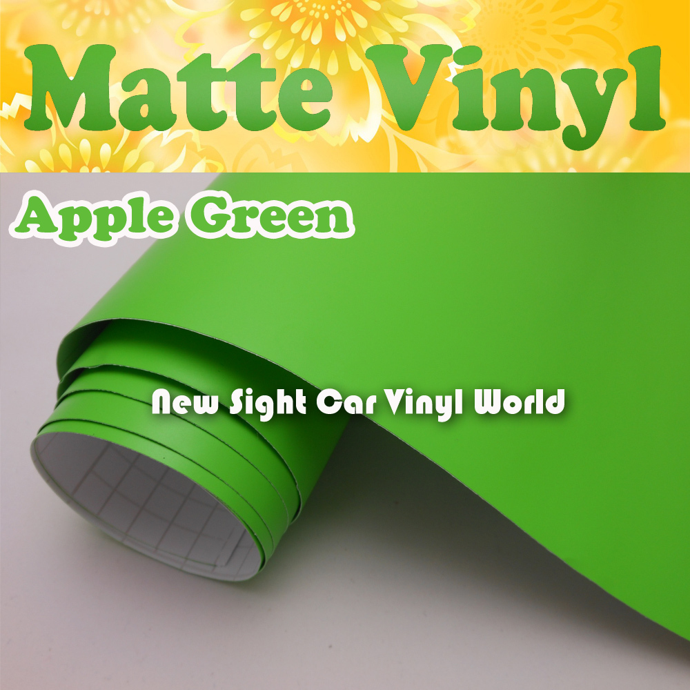 High Quality Apple Green Matte font b Car b font Wrap Vinyl Film Air Channel For